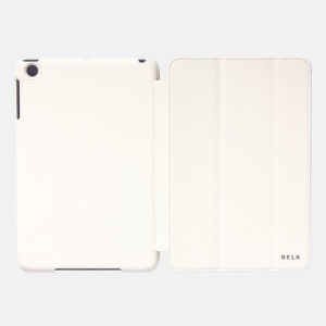 White for iPad Mini 2 (Retina) / iPad Mini BELK Tri-folding Smart Wake Up / Sleep Leather Case Stand