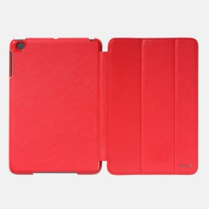 Red for iPad Mini 2 (Retina) / iPad Mini BELK Tri-folding Smart Wake Up / Sleep Leather Cover Stand