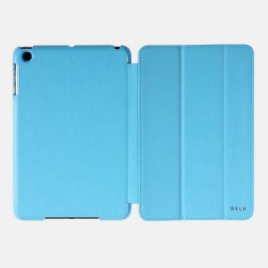 Blue BELK Tri-folding Smart Wake Up / Sleep Leather Shell Stand for iPad Mini / Mini 2 with Retina Display