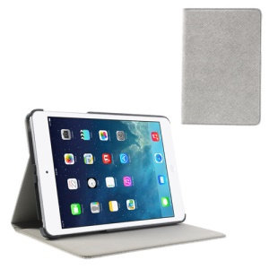 Cross Texture PU Leather + PC Tablet Skin Cover for iPad Mini / Mini 2 - Grey