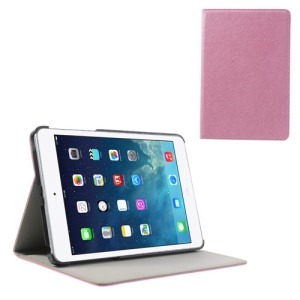 Cross Texture Flip Folio PU Leather + PC Skin Case for iPad Mini / Mini 2 - Pink