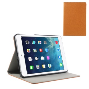 For iPad Mini / Mini 2 Cross Texture PU Leather + PC Stand Case Cover - Orange