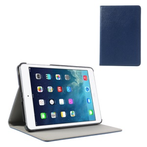 For iPad Mini / Mini 2 Cross Texture PU Leather + PC Stand Shell Case - Navy Blue