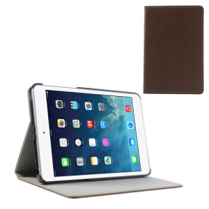 For iPad Mini / Mini 2 Cross Texture PU Leather + PC Protector Cover - Brown