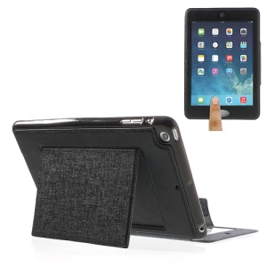 Oracle Grain Smart Leather Stand Case w/ Touchable Window for iPad Mini / Mini 2 - Black