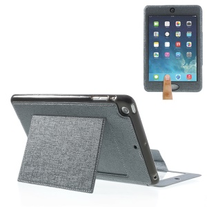 Oracle Grain Smart Leather Stand Cover w/ Touchable Window for iPad Mini / Mini 2 - Gray