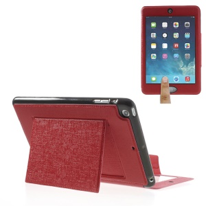 Oracle Grain for iPad Mini / Mini 2 Smart Leather Shield Cover w/ Touchable Window - Red