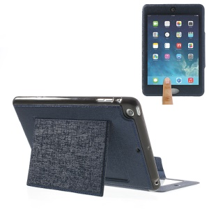 For iPad Mini / Mini 2 Oracle Grain Smart Leather Shell w/ Touchable Window - Deep Blue