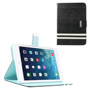 Cross Lines Flip Smart Leather Case Cover for iPad Mini / iPad Mini 2 - Black