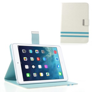 Cross Lines Smart Leather Stand Cover for iPad Mini / iPad Mini 2 - White
