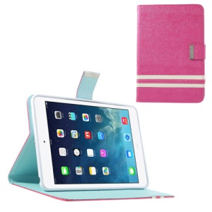 Cross Lines Smart Leather Card Holder Case for iPad Mini / iPad Mini 2 - Hot Pink