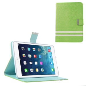 Cross Lines Smart Leather Shell Stand for iPad Mini / iPad Mini 2 - Lime Green