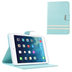 Cross Lines for iPad Mini / iPad Mini 2 Smart PU Leather + TPU Case - Light Blue