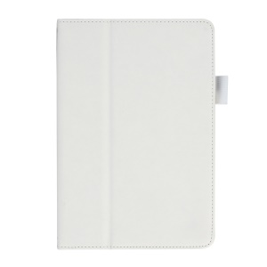 Cowhide Texture PU Leather Smart Stand Case for iPad Mini / Mini 2 w/ Handheld Belt - White