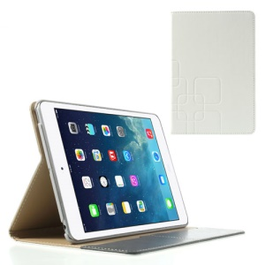 Crazy Horse Smart Leather Card Slot Phone Cover for iPad Mini / iPad Mini 2 - White