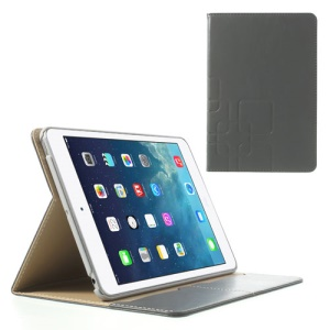 Crazy Horse Smart Leather Shield Case for iPad Mini / iPad Mini 2 w/ Stand - Slate Grey