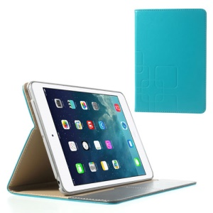 For iPad Mini / iPad Mini 2 Crazy Horse Smart Leather Stand Case w/ Card Slot - Cyan