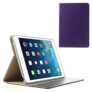 For iPad Mini / iPad Mini 2 Crazy Horse Flip Leather Smart Shell w/ Card Slot - Purple