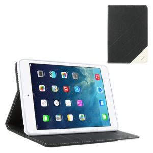 Krcase Sand-like Texture Smart Leather Stand Case w/ Card Slots for iPad Mini / iPad Mini 2 - Black