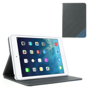 Krcase Sand-like Texture Smart Leather Shell Stand for iPad Mini / iPad Mini 2 with Retina Display - Grey