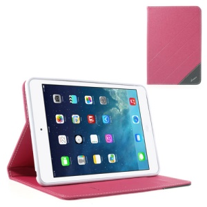 Krcase Sand-like Texture Stand Leather Smart Case for iPad Mini / iPad Mini 2 with Retina Display - Rose