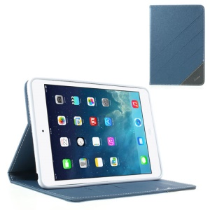 Krcase Sand-like Texture Smart Leather Protective Case Stand for iPad Mini / iPad Mini 2 - Blue