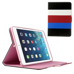 Colorful Stripes Lychee Leather Smart Cover for iPad Mini / iPad Mini 2 - Black / White / Red