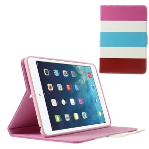 Colorful Stripes Lychee Leather Smart Case for iPad Mini / iPad Mini 2 - Rose / White / Baby Blue