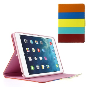 Colorful Stripes Lychee Leather Smart Case w/ Stand for iPad Mini / iPad Mini 2 - Orange / Dark Blue / Yellow