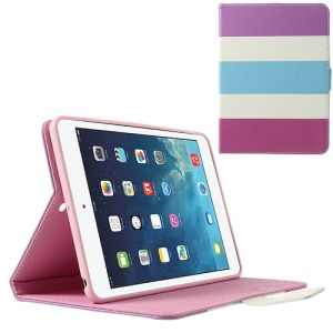 Colorful Stripes Lychee Leather Smart Cover w/ Stand for iPad Mini / iPad Mini 2 - Purple / White / Baby Blue