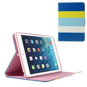 Colorful Stripes Stand Lychee Leather Smart Cover for iPad Mini / iPad Mini 2 - Dark Blue / Yellow / Baby Blue