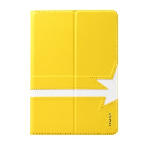 USAMS Star Series Smart Leather Cover w/ 360 Degree Rotating Stand for iPad Mini / iPad Mini 2 Retina Display - Yellow