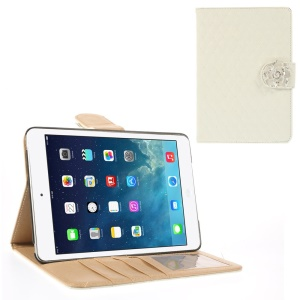 Diamond Camellia Magnetic Rhombus Smart Leather Wallet Cover for iPad Mini / iPad Mini 2 - White