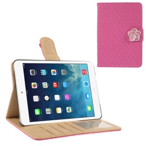 Diamond Camellia Magnetic Rhombus Smart Leather Wallet Case for iPad Mini / iPad Mini 2 - Rose