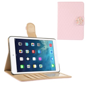 Diamond Camellia Magnetic Rhombus Smart Leather Wallet Case for iPad Mini / iPad Mini 2 - Pink