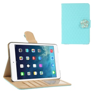 For iPad Mini / iPad Mini 2 Diamond Camellia Magnetic Rhombus Smart Leather Wallet Cover - Blue