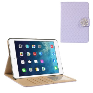 For iPad Mini / iPad Mini 2 Diamond Camellia Magnetic Rhombus Smart Leather Wallet Case - Purple