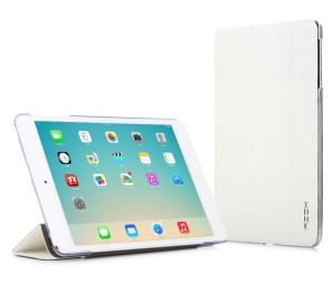 White ROCK Colorful Series for iPad Mini 2 / iPad Mini Smart Wake up / Sleep Tri-fold Leather Stand Case