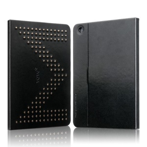 TOTU Modern Series M Letter Rivet Studded Smart Leather Case w/ Stand for iPad Mini 2 / iPad Mini - Black