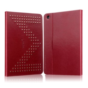 TOTU Modern Series M Letter Rivet Studded Smart Leather Shell w/ Stand for iPad Mini 2 Retina / iPad Mini - Red