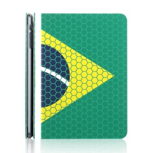 TOTU World Cup Series Football Grain National Flag of Brazil Pattern Smart Leather Case for iPad Mini 2 Retina / iPad Mini w/ Stand