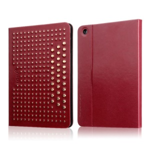 TOTU Modern Series for iPad Mini 2 / iPad Mini Starry Sky Rivet Studded Smart Leather Cover w/ Stand - Red