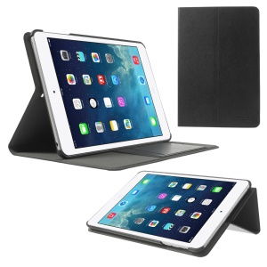POMOSER Smart Leather Cover w/ Stand & Card Holder for iPad Mini 2 Retina / iPad Mini - Black