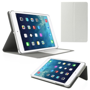 POMOSER Smart Leather Case w/ Stand & Card Holder for iPad Mini 2 Retina / iPad Mini - White