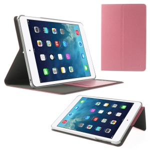 POMOSER Smart Leather Stand Shell w/ Card Holder for iPad Mini 2 Retina / iPad Mini - Pink