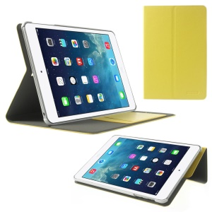 POMOSER Smart Stand Leather Cover w/ Card Holder for iPad Mini 2 Retina / iPad Mini - Yellow