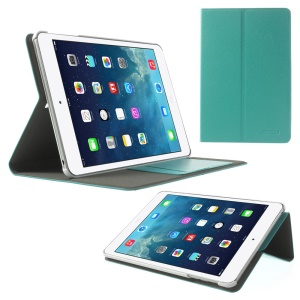 POMOSER Card Holder Smart Stand Leather Case for iPad Mini 2 Retina / iPad Mini - Cyan