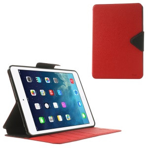 Roar Korea Diary Smart Leather Card Slot Stand Cover for iPad mini 2 / iPad mini - Black / Red