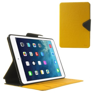 Roar Korea Diary Smart Stand Leather Card Slot Case for iPad mini 2 / iPad mini - Black / Yellow