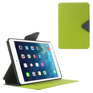Roar Korea for iPad mini 2 / iPad mini Diary Smart Leather Card Holder Case - Dark Blue / Green